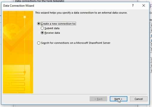 Sharepoint data connection