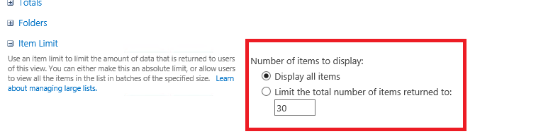 item limit in sharepoint list